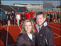Sally Gunnell and Steve Cram with the candidates