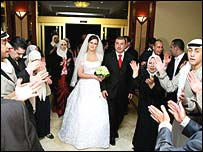 Bride and groom, Nadia al-Alami and Ashraf Da'as al-Akhra