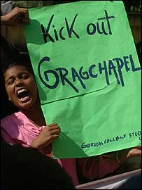 Ganguly supporters protesting