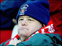 An Accrington Stanley fan shows his loyalty