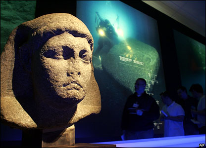 Egyptian sculpture at the press preview for the Egypt's Sunken Treasures exhibition in Berlin