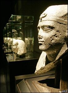 Egyptian sculptures at the Egypt's Sunken Treasures exhibition in Berlin