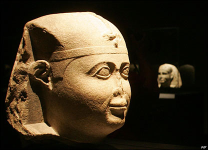 Sculpture of the head of an ancient Egyptian pharaoh at the Egypt's Sunken Treasures exhibition in Berlin