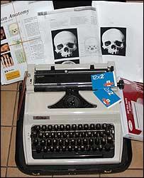Typewriter found at Whitburn's house