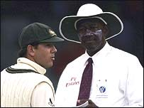 Australia captain Ricky Ponting and umpire Steve Bucknor