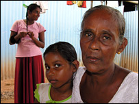 Women in Weligama temporary shelter