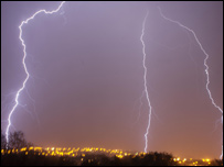 Lightning strikes above Cockett, Swansea( picture Matthew Stroud)