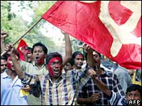 supporters of the CPI(M) celebrate their party's victory in West Bengal