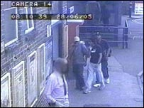 Mohammed Sidique Khan, Shahzad Tanweer and Germaine Lindsay entering Luton railway station on 7 July 2005