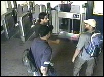 CCTV image of the men entering the underground network where they committed the attacks on 7 July