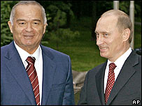 Presidents Islam Karimov and Vladimir Putin