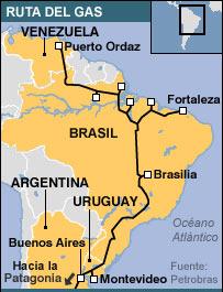 Mapa con el trazado del gasoducto.
