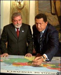 Hugo Ch�vez junto a Lula Da Silva.
