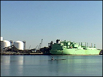 An LNG carrier at the Distrigas terminal in Everett, near Boston, Massachusetts