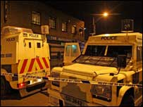 Police vehicles outside the bar which was raided