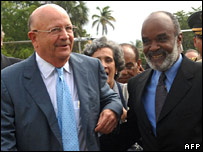 Rene Preval with Dominican Foreign Minister Carlos Morales Troncosco