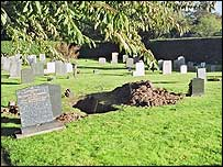 Desecrated grave