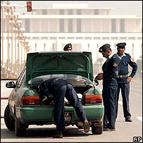 Searching a car near the presidential palace, Islamabad