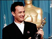 Tom Hanks collecting Oscar in 1995