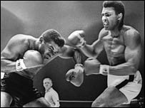 Patterson also came off second best to Muhammad Ali (right)