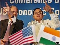 William Harrison, chairman of JP Morgan Chase (left) and P Chidambaram, Indian finance minister