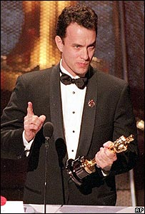 Tom Hanks collecting Oscar in 1994