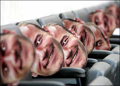 Empty seats are filled with Alan Shearer masks