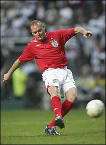 Paul Gascoigne takes part in a penalty shoot-out
