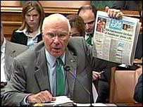 Sen Patrick Leahy with a newspaper report alleging the NSA has been logging millions of phone calls