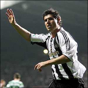 Albert Luque celebrates giving Newcastle the lead