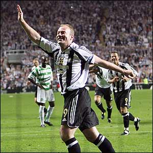 Shearer celebrates in front of his Newcastle fans