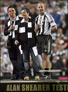 Shearer returns after the final whistle to chat with Ant and Dec