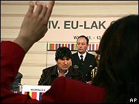 Evo Morales, presidente de Bolivia, en conferencia de prensa