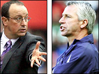 Liverpool boss Rafael Benitez and West Ham counterpart Alan Pardew