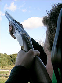 Shooting at a clay target