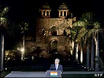 President Bush speaking at Delhi's Old Fort