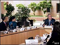 President Bush at the International School of Business in Hyderabad