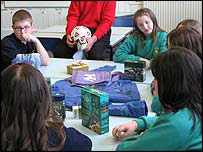 Pupils during the fair trade lesson with JPR Williams