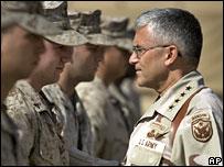 Gen George Casey talks to US marines in western Iraq