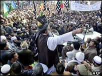An opposition rally in Peshawar