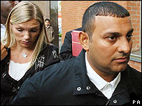 Naseem Hamed arriving at court with his wife Eleasha
