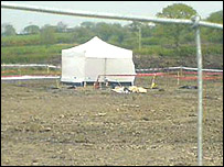 Police tent at the scene of the bone discovery at Lower St Clears