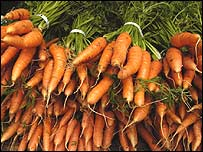 Carrots in a pile