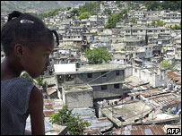 Girl surveys slum district of Port-au-Prince, April 2006