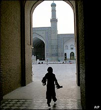 A child at the Masjid-i Jami mosque in Herat
