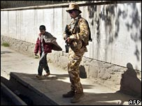 British soldier on patrol in Kabul