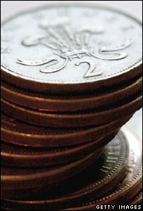 Stack of 2p coins