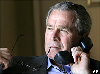 George W Bush speaking on the phone