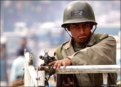 A paramilitary soldier on guard in Islamabad