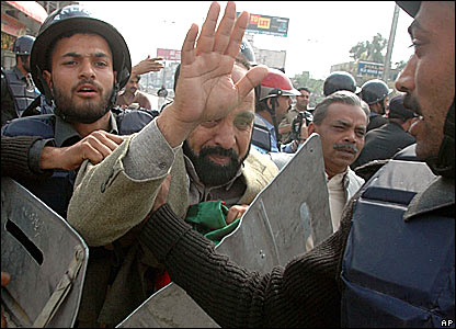 Party members of Imran Khan's Tahreek-e-Insaaf were arrested during an anti-Bush rally in Rawalpindi